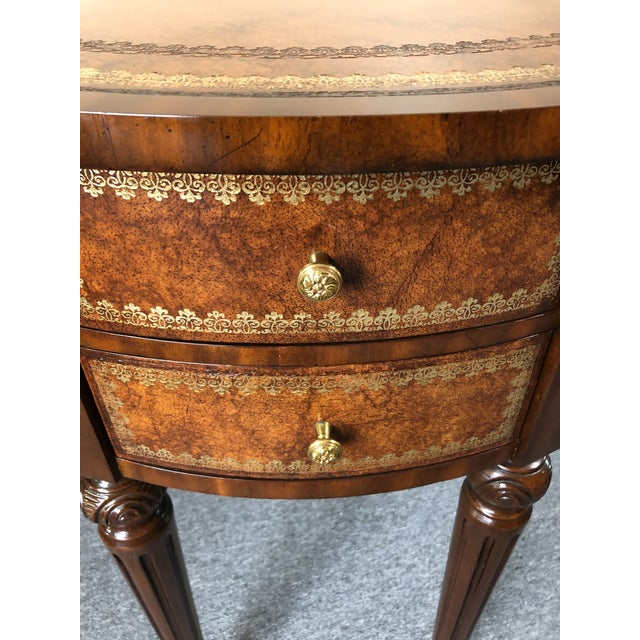 Wood Round Leather Wrapped Side Table Cabinet With Trompe l'Oeil Books For Sale - Image 7 of 13