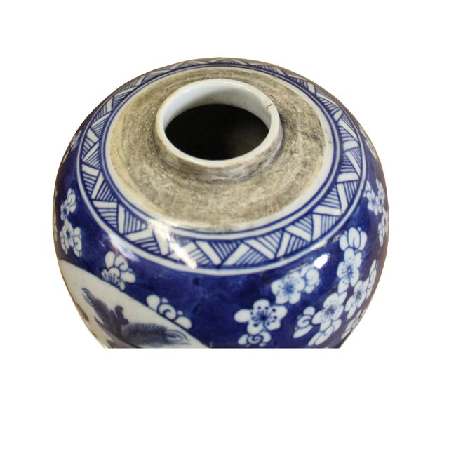 Chinese Oriental Handpaint Small Blue White Porcelain Ginger Jar For Sale - Image 4 of 7
