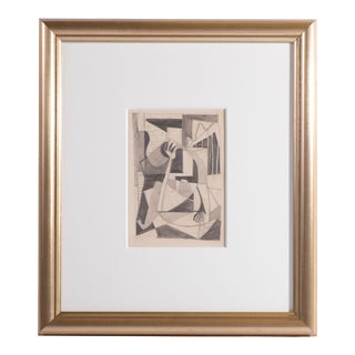 """Seymour Fogel """"Figure in an Interior"""" Graphite Drawing on Paper For Sale"""