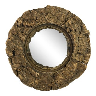 French Cork Convex Mirror For Sale