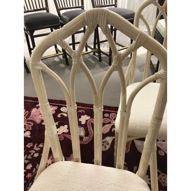 1960s Off White Rattan Cathedral Back Chairs - Set of 4 For Sale - Image 4 of 7
