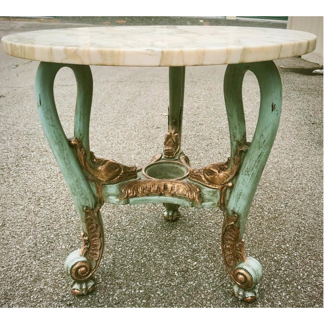 Antique Venetian Occasional Table Carved and Polychrome With Marble Top For Sale - Image 11 of 11