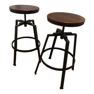 Wood Seat Adjustable Height Barstools - A Pair For Sale