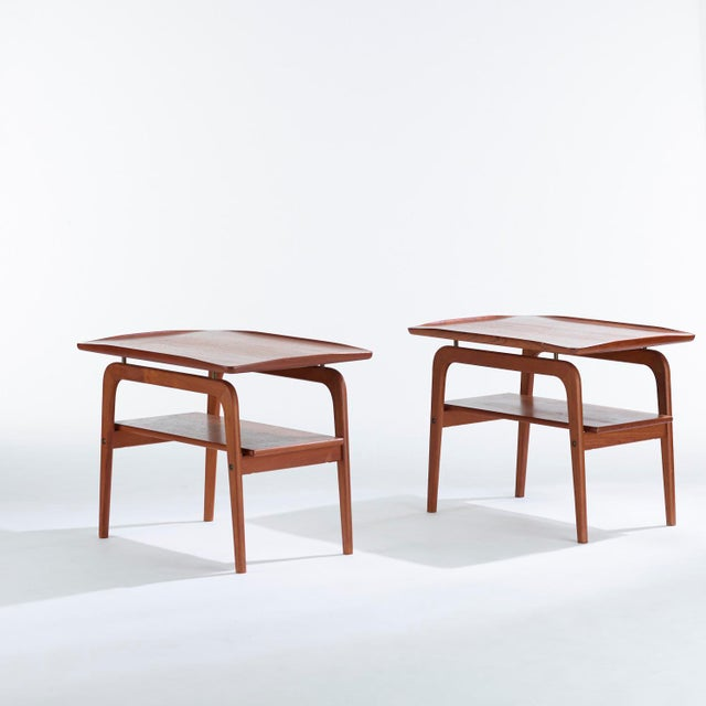 Gold 1960s Danish Modern Arne Hovmand Olsen Teak and Brass Side Tables - a Pair For Sale - Image 8 of 8