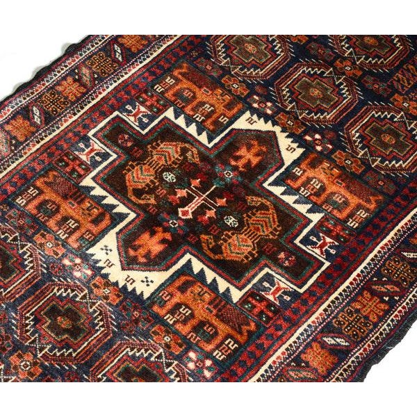 Hand Knotted Persian Baluch Rug - 3′3″ × 6′10″ For Sale - Image 5 of 9
