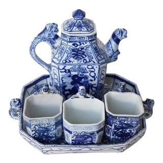 Antique Early 20th Century Chinese Porcelain Tea Set-Set of 5 For Sale