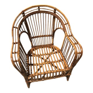 Mid Century Bamboo Rattan Lounge Chair For Sale