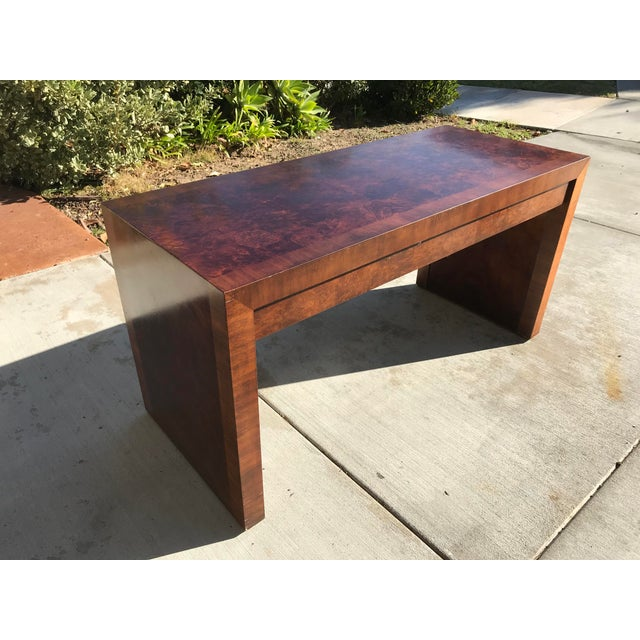 Three drawer, burl wood parsons desk by Hekman Furniture Company in beautiful vintage condition. Dynamic grain throughout,...