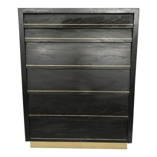Mid Century Onyx Louvred Highboy Dresser For Sale
