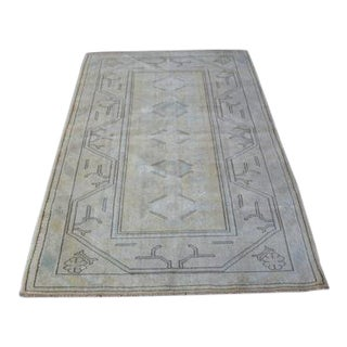 1960s Vintage Turkish Oushak Rug - 3′11″ × 6′4″ For Sale