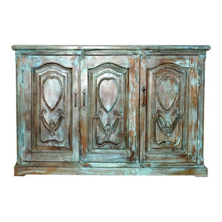 1920s Rustic Turquoise Hand Carved Sideboard For Sale