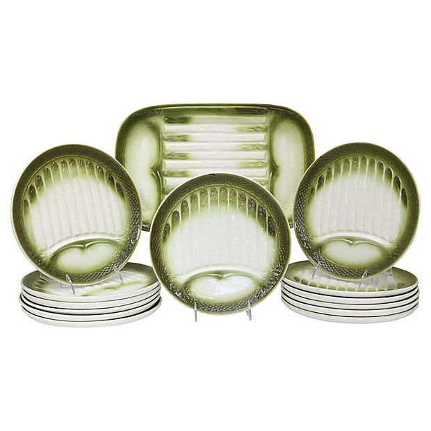 Mid 20th Century Mid-Century French Asparagus Set, 14Pcs For Sale - Image 5 of 5