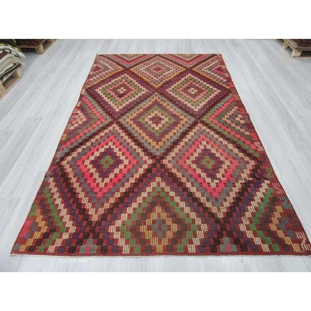 Islamic Vintage Turkish Kilim Embroidered Rug - 5′11″ × 9′11″ For Sale - Image 3 of 6