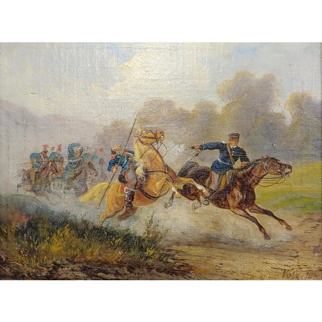 Americana Hermann Volz -19th Century Cavalry Battle -Oil Painting C.1870s For Sale - Image 3 of 9