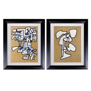 1970s Vintage Limited Edition Jean Dubuffet Lithographs- A Pair For Sale