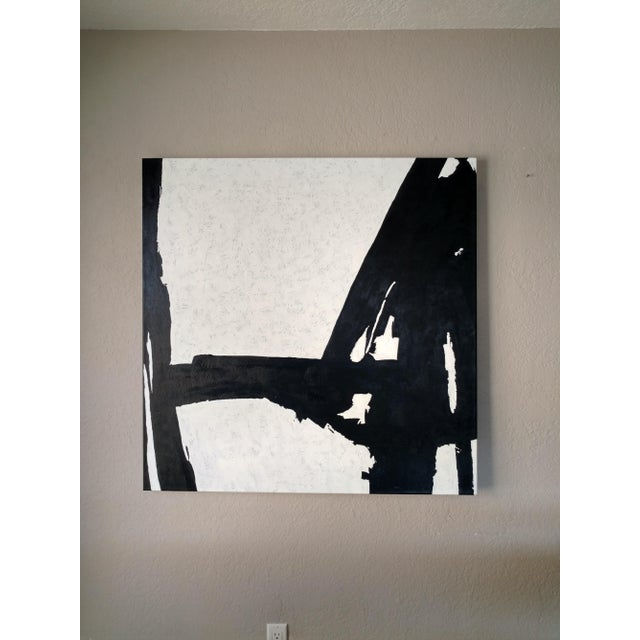 Hand Painted Large Black & White Abstract Painting - Image 2 of 11