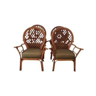 Mid-Century Modern Fan Back Rattan and Bamboo Dining Chairs - Set of 4 For Sale