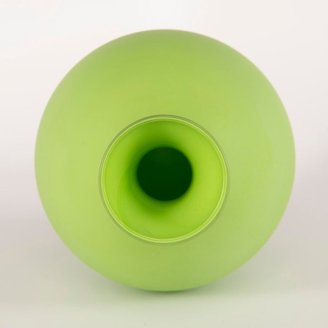 Mid-Century Modern Tall Mid Century Cenedese Murano Glass Green Vase For Sale - Image 3 of 8