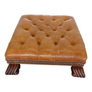 Kravet Furniture Tufted Leather Hassock / Stool For Sale