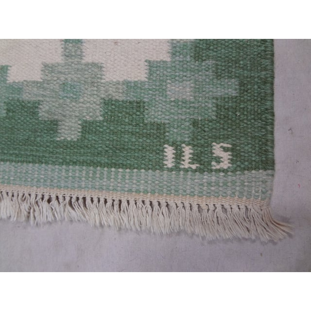 Mid-Century Modern Vintage Swedish Flat Weave Rug For Sale - Image 3 of 4
