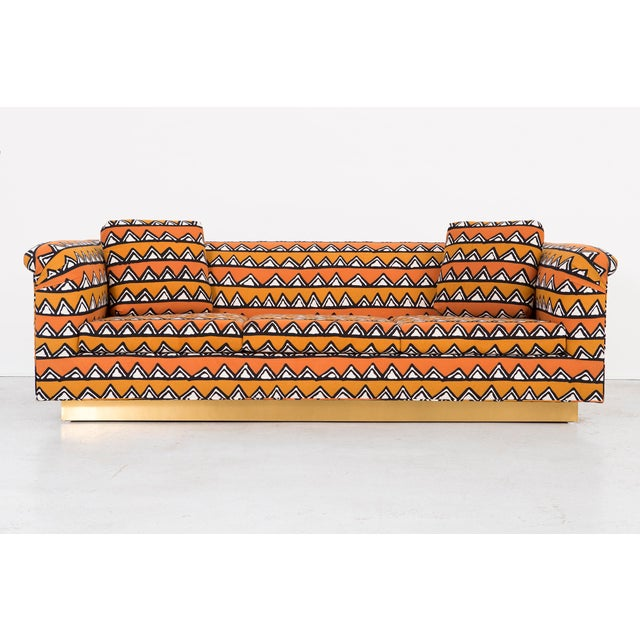 Rounded Barrel Back Brass Platform Sofa Reupholstered in African Mud Cloth - Image 2 of 11