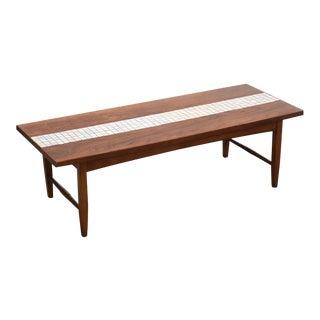 Lane Walnut & Tile Coffee Table For Sale