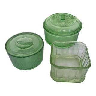 Green Depression Glass Collection - Set of 3 For Sale