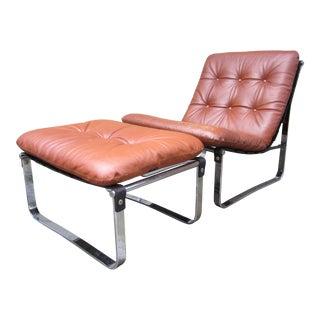 Danish Ingmar Relling Westnofa Spring Chrome Plated Leather Chair & Ottoman For Sale