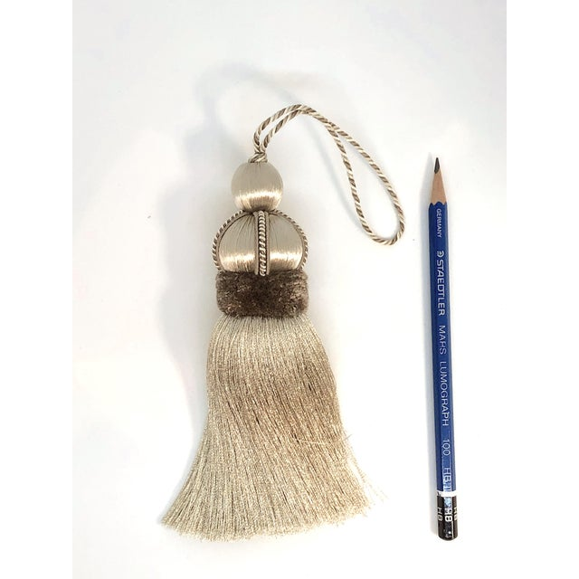 Contemporary Taupe Key Tassel With Cut Velvet Ruche For Sale - Image 3 of 10