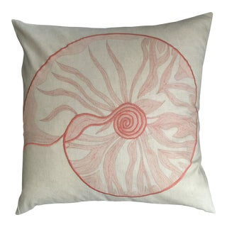 Modern Coastal Sea Shell Embroidered Pillow For Sale