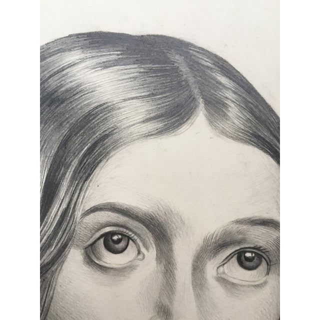 Portrait Drawing of a Young French Girl For Sale - Image 4 of 4