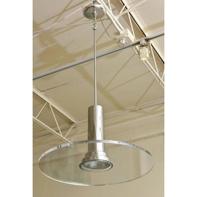 Signed Fredrick Ramond Etched Lucite and Chromed Metal Pendant Light - Image 3 of 9