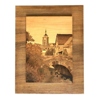 Spindler Marquetry Inlaid Wood Art - French Village