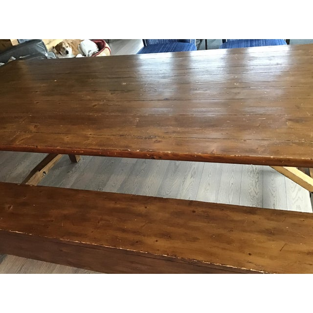 Wood Country Pottery Barn Dining Table with Bench For Sale - Image 7 of 11