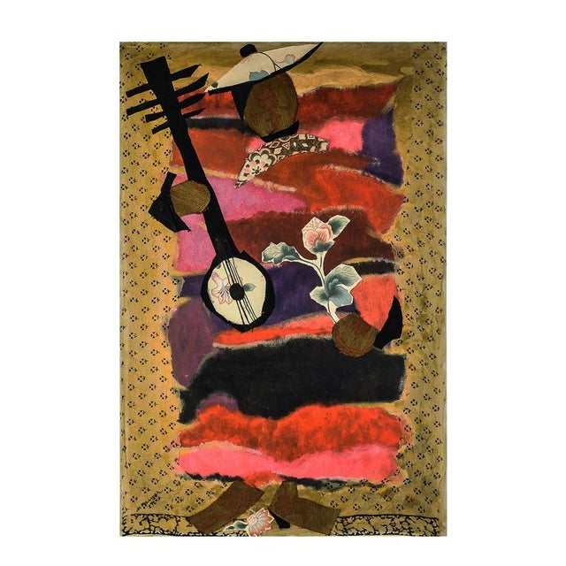 """Canvas Mymy Farmer """"Lute Player"""" Mixed Media Collage on Canvas For Sale - Image 7 of 7"""