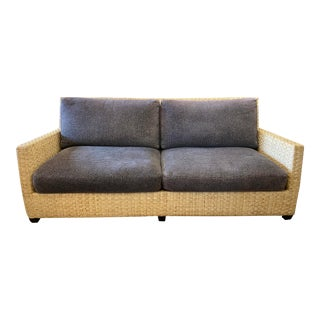 McGuire Vintage Woven Split-Bamboo Sofa For Sale