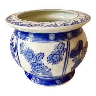 Vintage Chinoiserie Canton Style Cachepot Planter For Sale