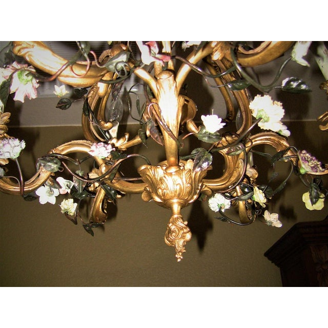 19c French Gilt Bronze Chandelier With Porcelain Flowers For Sale - Image 9 of 13