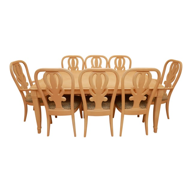 """20th Century Bernhardt """"Palm Court"""" Dining Table & 8 Chairs - 9 Pieces For Sale"""