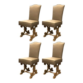 Jean Charles Moreux Set of Four Oak Cerused Dinning Chairs For Sale