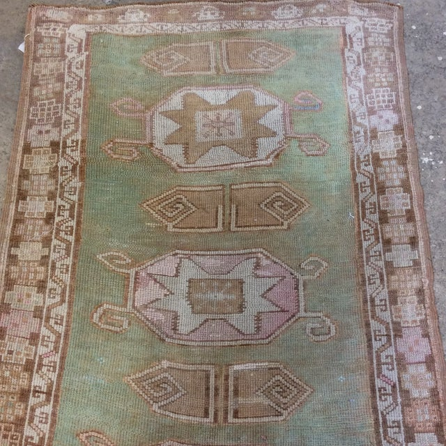 """1950s Vintage Turkish Anatolian Runner Sea Green 7'9""""x3' For Sale - Image 5 of 11"""