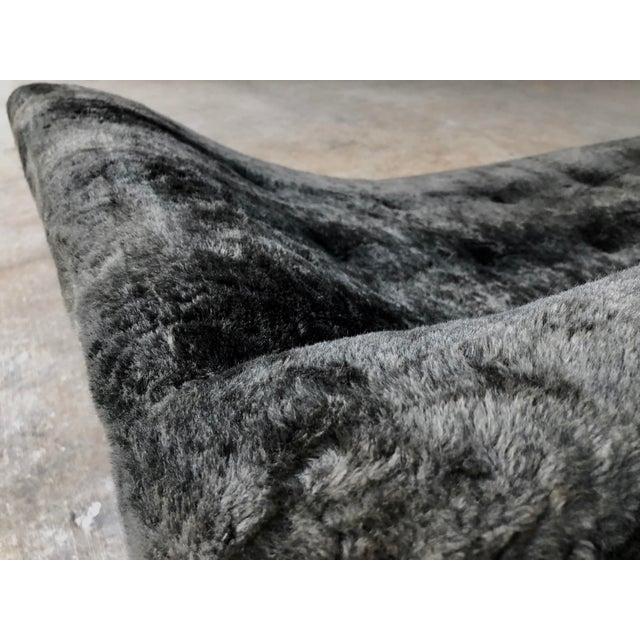 Black Mid Century Modern Designer Pearsall Style Gondola Sofa Fuzzy Black Velvet For Sale - Image 8 of 10