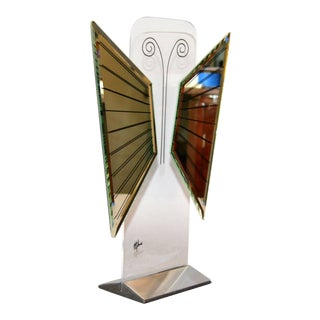 Jon Gilmore Mid-Century Modern Art Mirror in Chrome & Lucite Shaped Butterfly For Sale