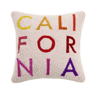 California Hooked Wool Pillow For Sale