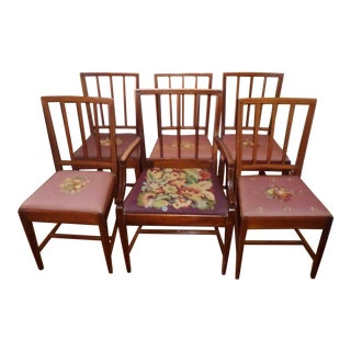 Antique Hepplewhite Sheraton Walnut Inlaid Dining Chairs - Set of 6 For Sale