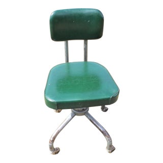 1960s Vintage Industrial Green Steel Rolling Office Chair For Sale