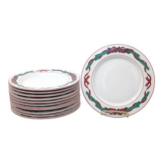 "Jul Tidings by Dansk 8 7/8"" Salad Plates - Set of 12 Christmas Plates Holly Bows Red and Green For Sale"