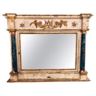 Paint Decorated 18th-19th Century Wall or Over the Mantle Mirror For Sale