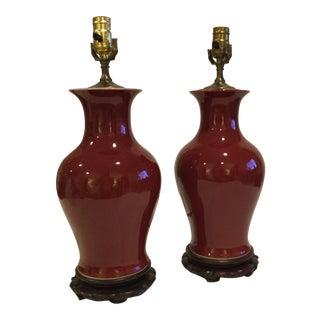 Vintage Oxblood Ginger Jar Lamps - a Pair For Sale