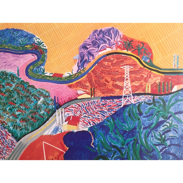 "Lithograph Rare 1980 David Hockney Original Collotype Print Poster "" Mulholland Drive "" For Sale - Image 7 of 11"